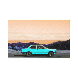 Road Trip (Cyan/Peach) canvas print
