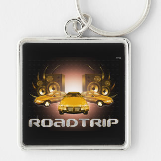 Road Trip Silver-Colored Square Keychain