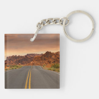 Road trip sunset Double-Sided square acrylic keychain