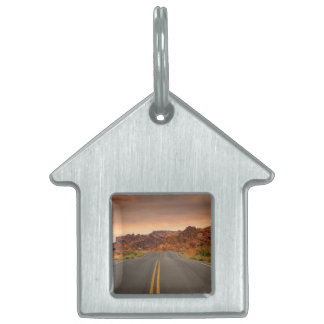 Road trip sunset pet name tag