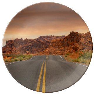 Road trip sunset plate