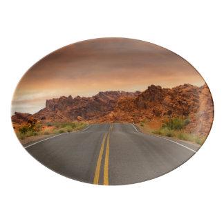 Road trip sunset porcelain serving platter
