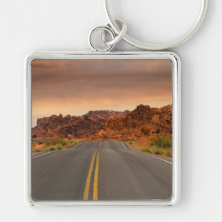 Road trip sunset Silver-Colored square keychain