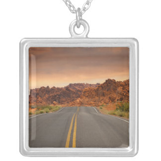 Road trip sunset silver plated necklace