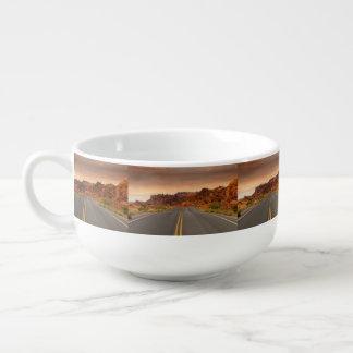 Road trip sunset soup mug