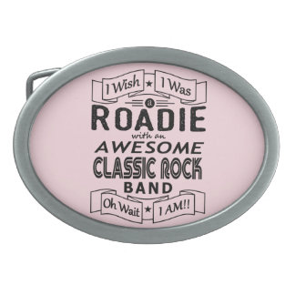 ROADIE awesome classic rock band (blk) Oval Belt Buckles