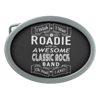 ROADIE awesome classic rock band (wht) Oval Belt Buckle