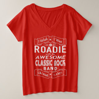 ROADIE awesome classic rock band (wht) Plus Size V-Neck T-Shirt