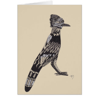 Roadrunnerl Black and White Greeting Card