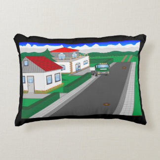Roads and building of houses accent pillow