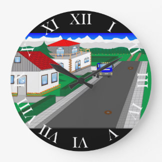 Roads and building of houses clock