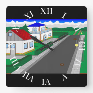 Roads and building of houses clocks