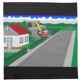 Roads and building of houses cloth napkin