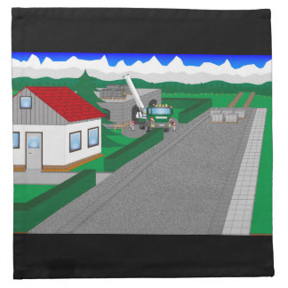Roads and building of houses cloth napkins