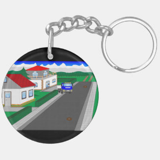 Roads and building of houses Double-Sided round acrylic keychain