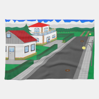 Roads and building of houses hand towel