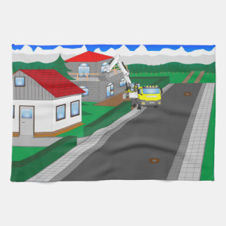 Roads and building of houses hand towels