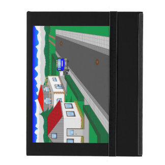 Roads and building of houses iPad folio cover