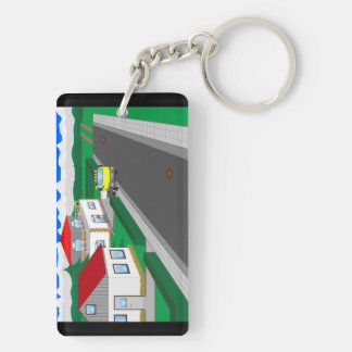 Roads and building of houses keychain