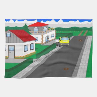 Roads and building of houses kitchen towel