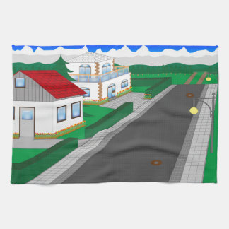 Roads and building of houses kitchen towels
