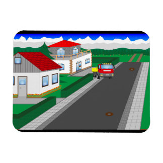 Roads and building of houses magnet