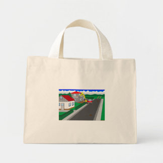 Roads and building of houses mini tote bag
