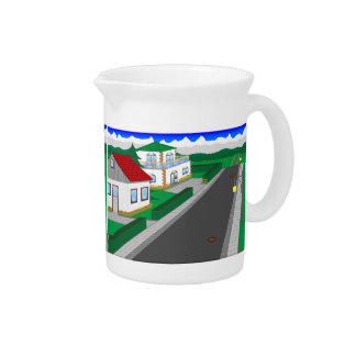 Roads and building of houses pitchers