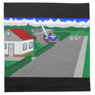 Roads and building of houses printed napkin