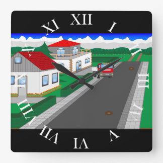 Roads and building of houses square wall clock