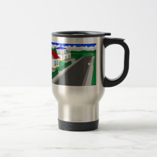 Roads and building of houses travel mug