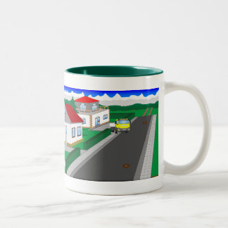 Roads and building of houses Two-Tone coffee mug