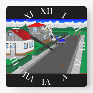 Roads and building of houses wall clock