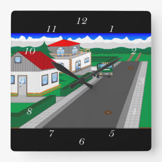 Roads and building of houses wallclock
