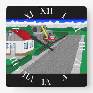 Roads and building of houses wallclocks