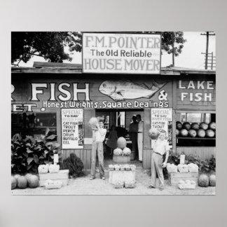 Roadside Market, 1936. Vintage Photo Poster