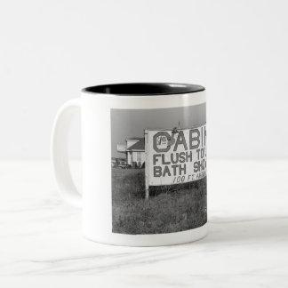 Roadside Sign, Flush Toilets Vintage Two-Tone Coffee Mug