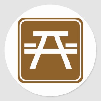 Roadside Table Highway Sign Round Sticker