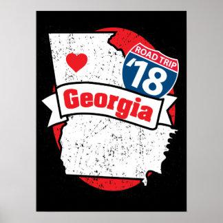 Roadtrip '18 Georgia - black/red poster