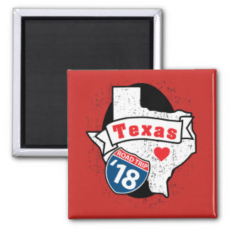 Roadtrip '18 Texas - square magnet (red)