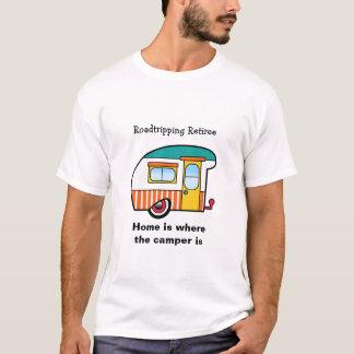 Roadtripping Retiree Orange-Striped Camper T-Shirt