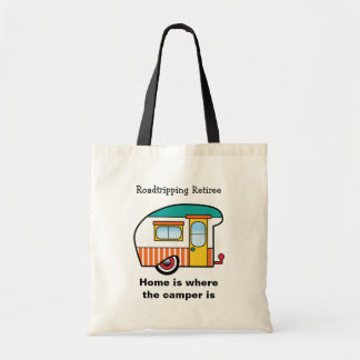 Roadtripping Retiree Orange-Striped Camper Tote Bag