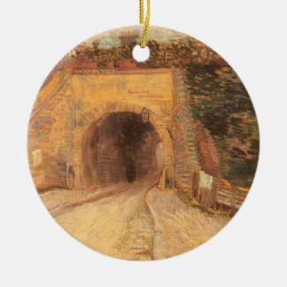 Roadway Underpass, Viaduct by Vincent van Gogh Round Ceramic Ornament