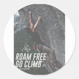 Roam Free Go Climb Rock Wall Adrenaline Classic Round Sticker