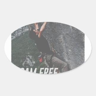 Roam Free Go Climb Rock Wall Adrenaline Oval Sticker