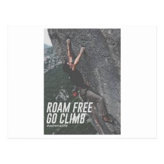 Roam Free Go Climb Rock Wall Adrenaline Postcard