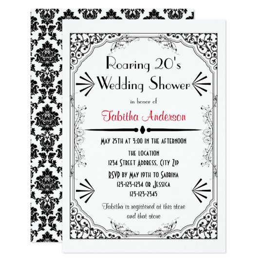 Roaring 20s - 3x5 Wedding Shower Invitation
