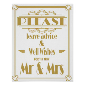 Roaring 20's Art Deco advice and well wishes print