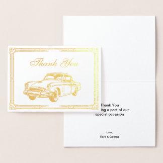 Roaring 20s art deco Retro Car Thank You Foil Card