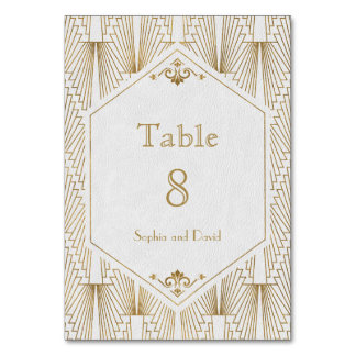 Roaring 20s Great Gatsby Art Deco TABLE NUMBER
